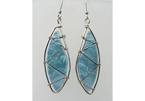 Leaf earrings dark green light blue ready